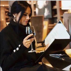 Zara Black Funnel Cowl Neck Pearl Cuff Sweater